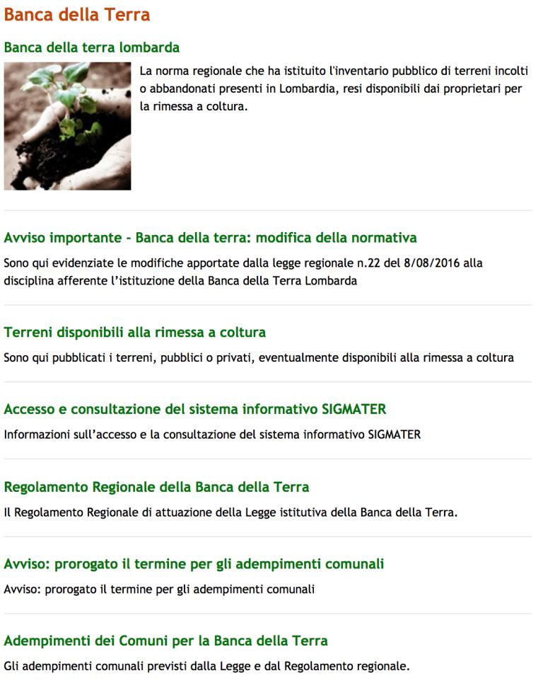 Regione Lombardia - Banca della Terra
